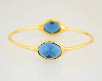 Sapphire Bangle, Gems Bangle Bracelet, Christmas Gift, Birthstone Bangle, September Birthstone, Designer Bangle, Stackable Two stone Bangles