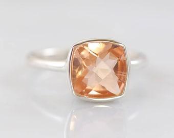 Blush Ring Jewelry, Morganite Ring, Wedding Ring, Bridal ring, Natural stone silver ring, Bridesmaid ring, Cushion ring, Faceted stone Ring