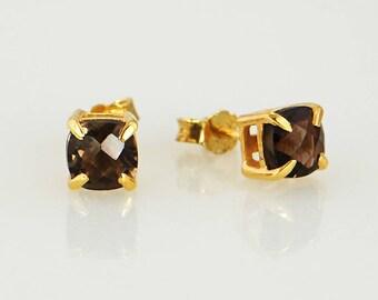 Minimalist Earring studs, Smoky Quartz studs, Gems Studs Earring, Gemstone Studs, Cushion Studs, Tiny Studs, Small Stone Studs Earrings