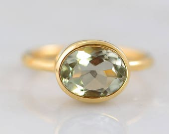 Green Amethyst Ring, Oval Ring, Bezel set ring, February Birthstone Ring, Gemstone Ring, Stacking Ring, Gold Ring, Bridal jewelry
