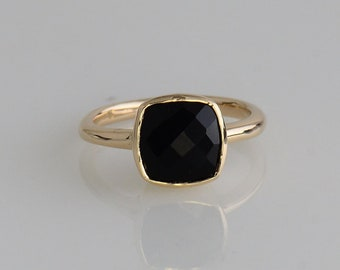 Black Onyx ring, Gold ring, Cushion Gemstone ring, Black Gemstone ring, Stackable ring, Gift for her, Gold ring, Stacking ring