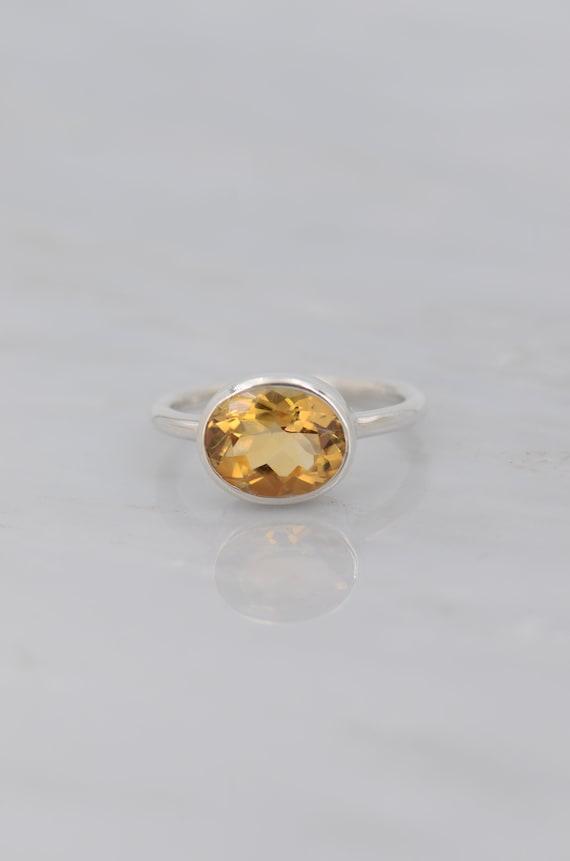Citrine ring sterling silver November birthstone ring yellow stone ring birthstone ring mothers ring