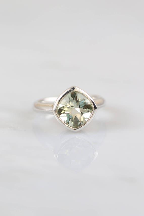 Diamond Shape Green RingSterling Silver Made Engagement Setting AmethystGemstone Colored Custom roQCeWdxB