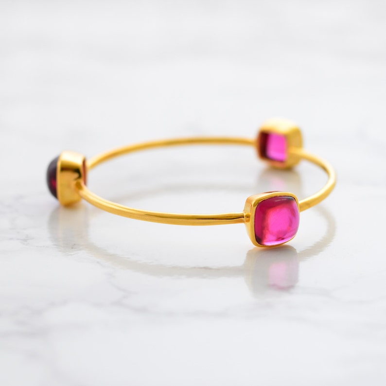 Gemstone Bangle Bracelet Stackable Bangle Lemon Quartz Bangle Stacking Bangles Three stones Bangle Stacker Bangle Gold Bangle