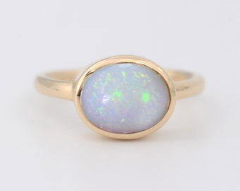 Australian Opal Ring, October Birthstone Ring, Opal Jewelry, Raw Stone Jewelry, Gold and Silver Ring, Oval cut Ring, Stackable Ring