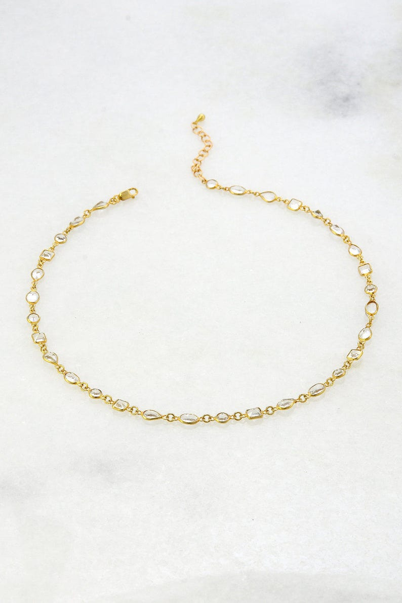 Choker Necklace  Gemstone Choker  Clear Quartz Choker  image 0