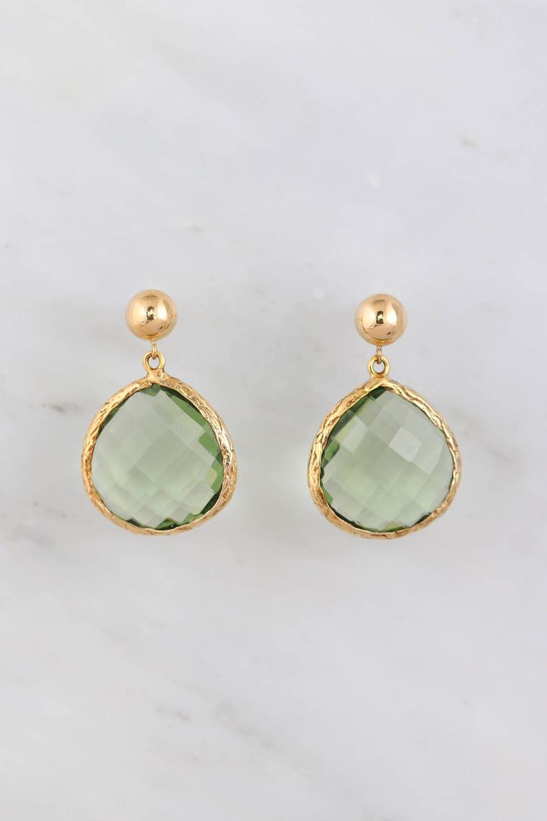 Gold filled earring Green Amethyst Elegant Textured Earrings Pear Shape Earring Round post Natural Stone Gemstone Earring Bar post