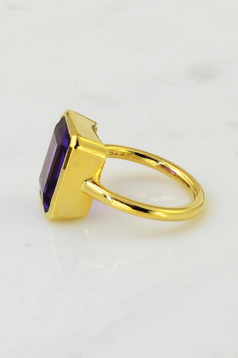 Amethyst gold silver ring February Stone Purple stone ring Rectangle shape ring Gold Silver band ring Stackable ring Stacker Emerald cut