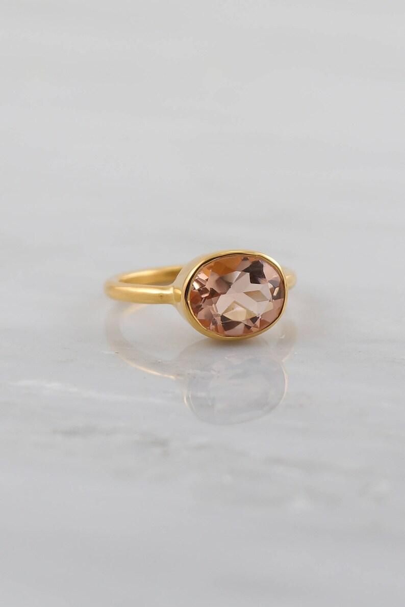 Morganite ring Blush Gold ring Wedding Ring Stacking rings image 0