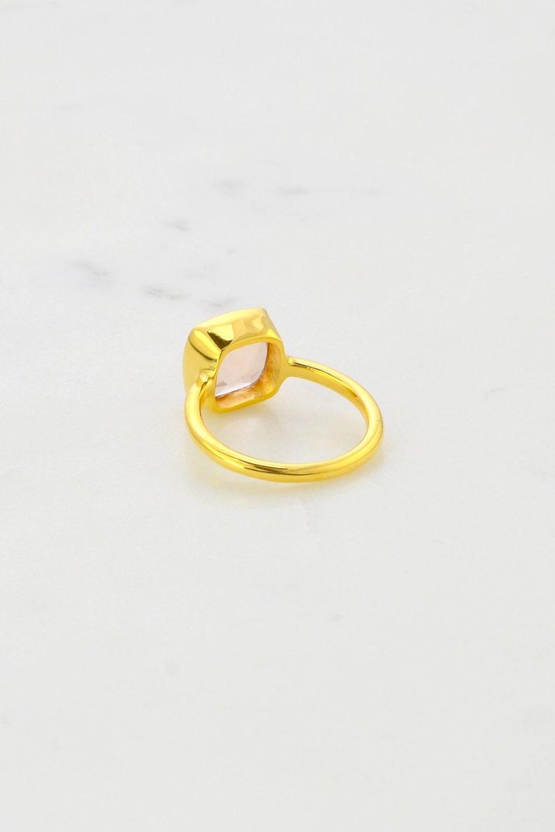 Morganite Ring - Peach Tone Ring - Solitaire Ring - Cushion cut Ring -  Gemstone Ring - Stackable Ring - Bridesmaid ring