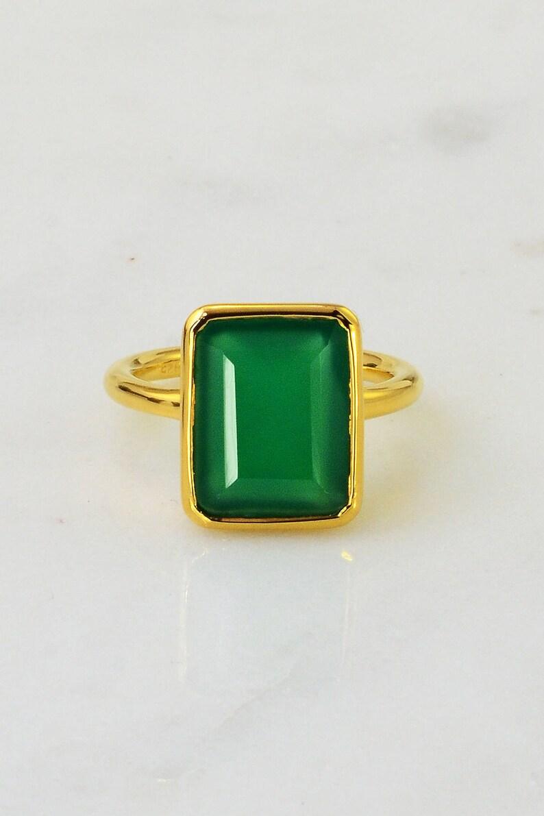 4c81e5dd3 Emerald green ring May Birthstone green onyx Dark Green Stone