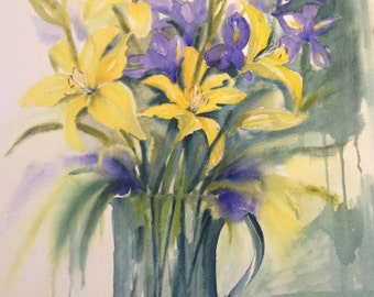 Original painting,lillies,iris,original watercolour and acrylic on 400gsm paper,ready to frame,wall art,bunch of flowers,Australian,1 only.