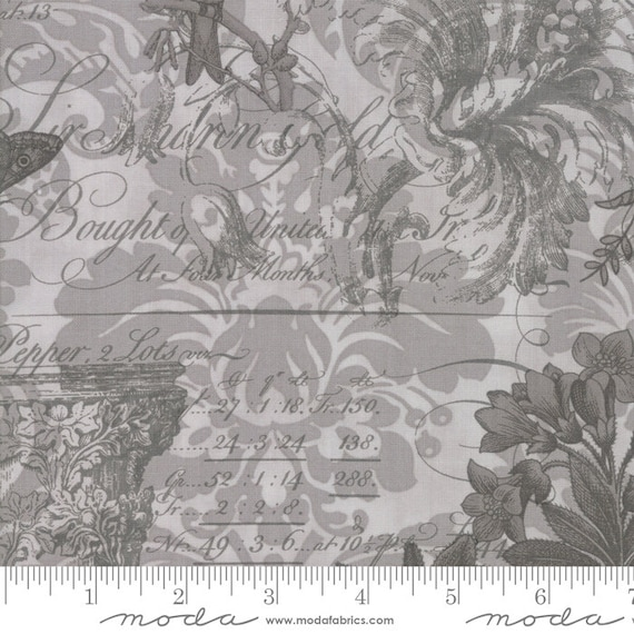 Memoirs Fabric by 3 Sisters #44211-11 Gray Flowers Quilt Shop Quality