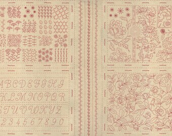 """Broderie Linen 13889 12L Rouge by French General for Moda Fabrics - 24"""" x 44"""""""