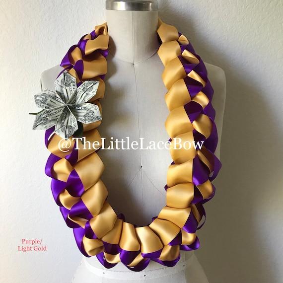 Purple And Gold Satin Ribbon Lei
