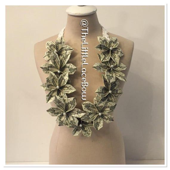 graduation money lei satin ribbon w 9x flower w pearls and etsy. Black Bedroom Furniture Sets. Home Design Ideas