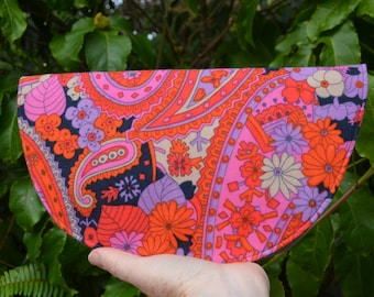 Crescent Moon Clutch Purse. Upcycled and Vintage Fabrics.
