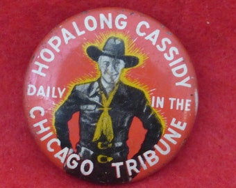Vintage 1950 Pin Back  Hopalong Cassidy Pin Back  Bronc Buster  Saving Rodeo  TV /& Movie Star  Collectible  Great Gift Item  apt1