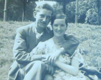 A Lifetime Ahead Of Them - 1940's Young Lovers In The Park Snapshot Photo