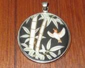 Vintage 1970 39 s Toshikane Porcelain Necklace Pendant - Bamboo With Bird Design - Signed
