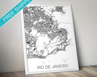 Rio de Janeiro Map Print