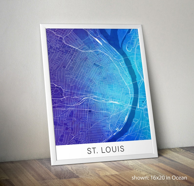 St Louis Map Print with Watercolor Background: St Louis Gift, Missouri  Gift, St Louis Art, St Louis Poster, St Louis Street Map