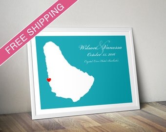 Personalized Barbados Wedding Gift : Custom Location and Map Print - Wedding guest book poster