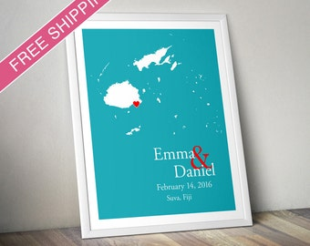 Custom Wedding Gift : Personalized Wedding Location and Country Map Print - Fiji - Engagement Gift, Wedding Guest Book