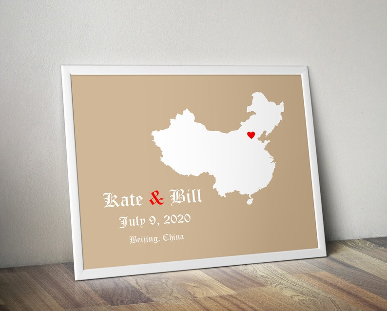 Personalized China Map: Custom China Wedding Wedding Gift Wedding Guest Book Engagement Gift Paper Anniversary Gift