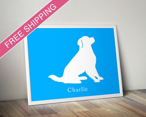 Personalized Golden Retriever Silhouette Print With Custom Etsy