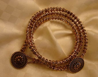 Morenci: Triple Wrap Beaded Bracelet With Copper Plated Pewter Bali Flower Button Clasp!