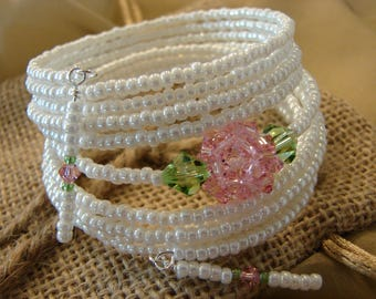 "A White Sport Coat and a Pink Carnation: 10-Coil Memory Wire Bracelet with Swarovski Crystal Beaded Bead ""Carnation!"""