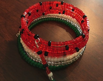 Black Diamond Watermelon: 8-Coil Memory Wire Bracelet