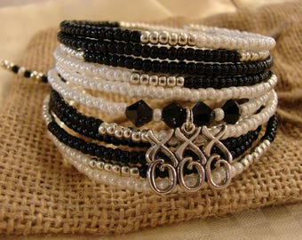 Kisses & Hugs: 10-Coil Memory Wire Bracelet With Swarovski Crystal and Sterling Silver!