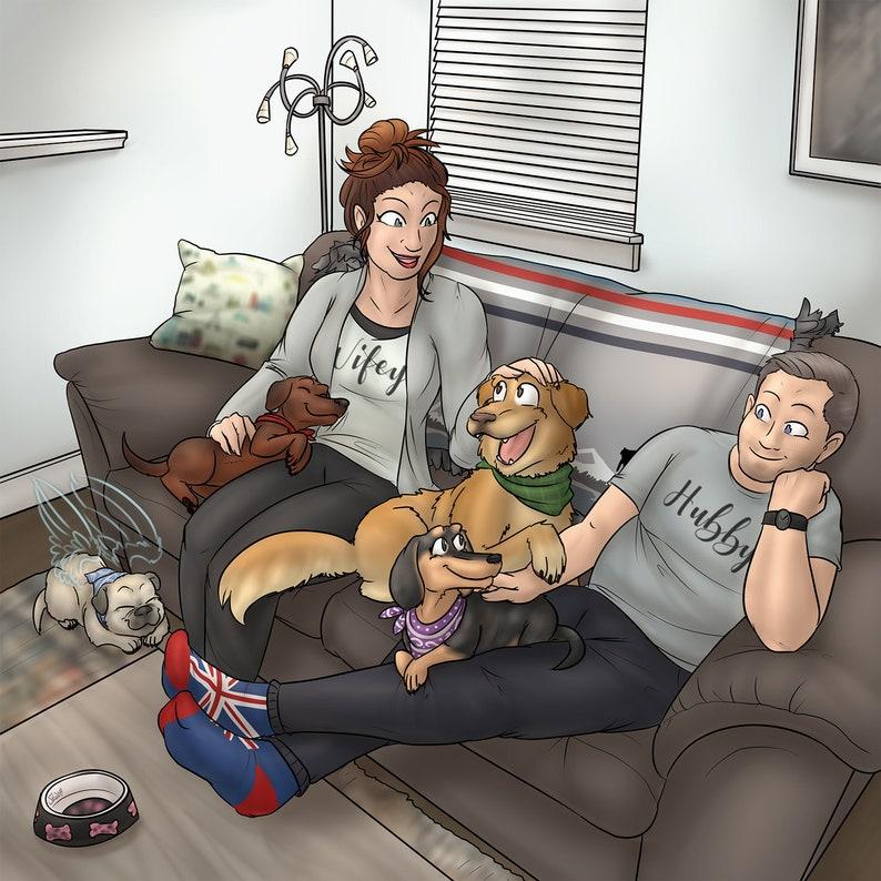 Quirky Ideas For Husbands 40th Birthday Custom Hand Drawn Cartoon Portrait Ooak Bespoke Original Print Funny Creative Gift For Dog Lovers