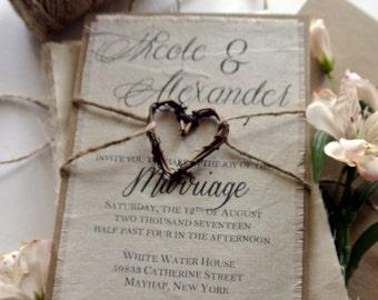 Rustic Wedding Invitation Boho Script Twine on Fabric Invitation Grapevine Heart Fall Wedding Ideas