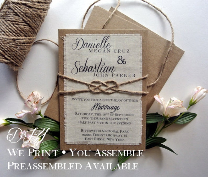 Diy Rustic Knot Spring Wedding Diy Invitation Boho Wedding Invitation Burlap Fabric Rustic Wedding Knot Invitation