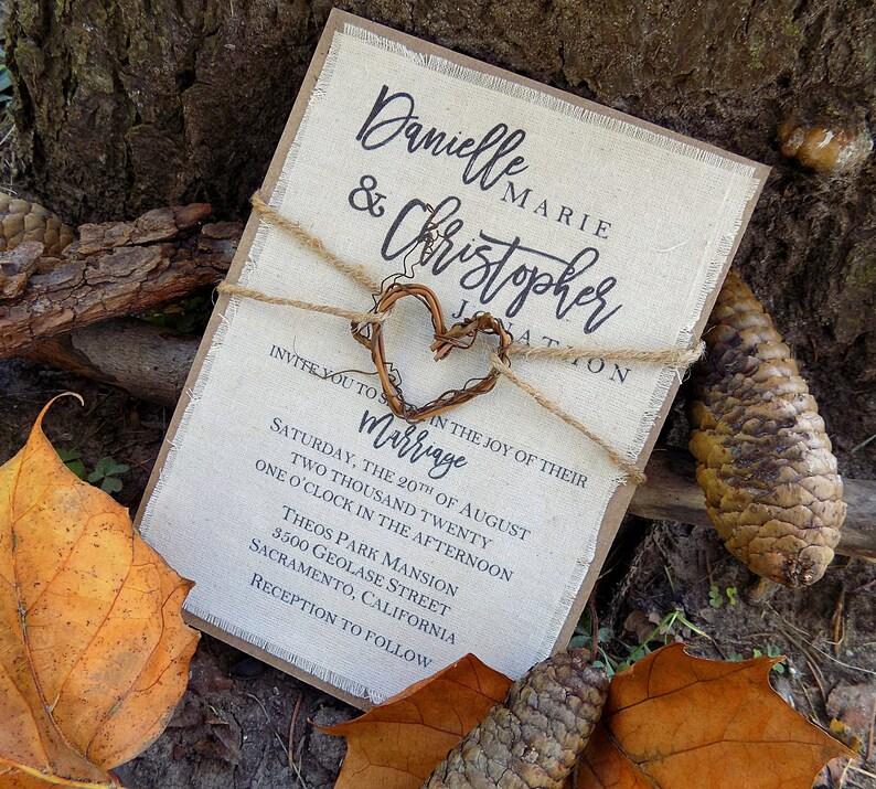 Rustic Fall Tree Wedding Invitation Unique Nature Bohemian Forest Fabric Grapevine Heart