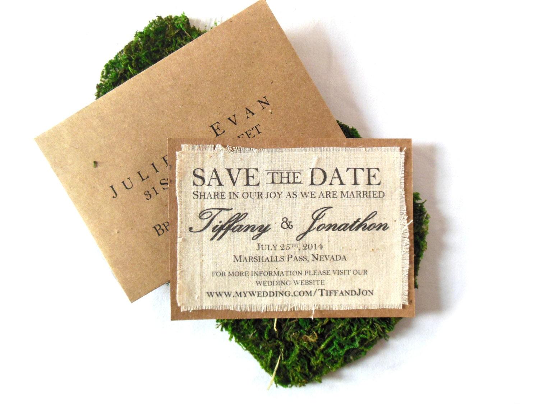 Fabric Wedding Invitations: Rustic Burlap Printed Fabric Wedding Invitation Save The