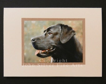 Labrador Retriever Dog Portraits Hand Made Greetings Card. From an Original Painting by JOHN SILVER. GCBL005