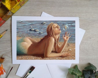 Mermaid art Hand Made Blank Greetings Card. 7 x 5 inch with envelope and plastic sleeve. From a Painting by JOHN SILVER. GCF564