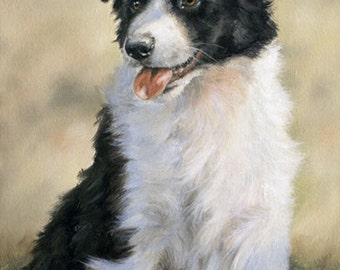 Aceo Dog Print, Border Collie Puppy. From an Original Painting by Award Winning Artist JOHN SILVER. Personally signed. BC005AC