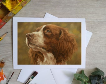 Springer Spaniel Dog Hand Made Blank Greetings Card. 7 x 5 inch with envelope and plastic sleeve. From a Painting by JOHN SILVER. GCC937