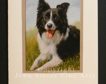 Border Collie Dog Portrait Hand Made Greetings Card. From Original Paintings by JOHN SILVER. GCBC003