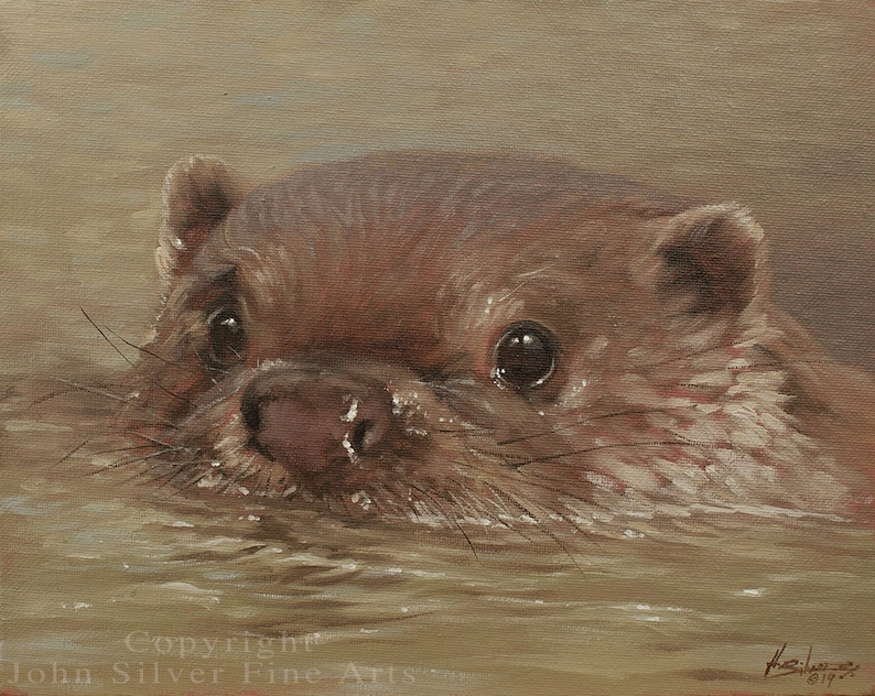 Otter Portrait. Original Classical Oil Painting by award image 0