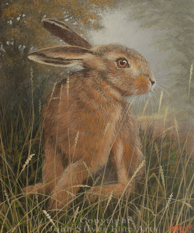Hare Portrait. Original Classical Acrylic Painting by award image 0