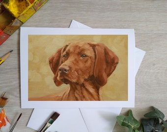 Hungarian Vizsla Dog Hand Made Blank Greetings Card. 7 x 5 inch with envelope and plastic sleeve. From a Painting by JOHN SILVER. GCC942