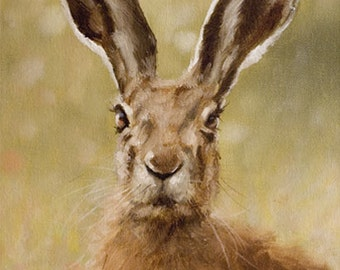 Aceo Print, Wild Hare. From an Original Painting by Award Winning Artist JOHN SILVER. Personally signed. HA006AC