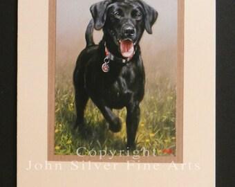 Labrador Retriever Dog Portrait Hand Made Greetings Card. From an Original Painting by JOHN SILVER. GCBL263