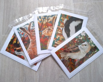 Pack of 5 Wildlife Hand Made Blank Greeting Card 7 x 5 inch with envelope & plastic sleeve From Original Paintings by JOHN SILVER.